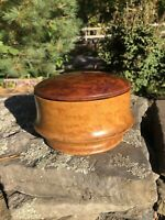 ANTIQUE TURNED WOOD Pantry Jar with Lid & Two Plates