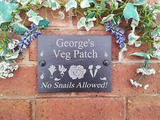 """Personalizzata Da Giardino Verdure Patch Naturale Ardesia PLACCA 13x17cm """"NO"""" lumache consentito"""