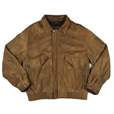Hunter Club Vintage Genuine Leather Distressed Brown Bomber Jacket Size Large