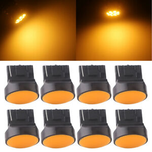 8Pcs Amber T20 7440 W21W LED COB 12SMD Reverse Backup Turn Signal Light Bulbs