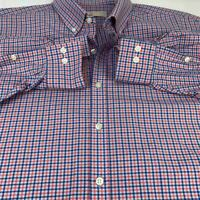 Michael Kors Men's Size 19 34/35 Blue And Orange Plaid Long Slv Dress Shirt BIG