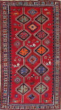 One-of-Kind Vintage Tribal Geometric Lori Oriental Hand-Knotted6x10 Wool Red Rug