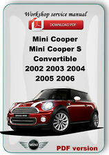 MINI Cooper Cooper S Convertible 2002 2003 2004 2005 2006 Workshop repair manual