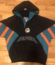 Vtg Rare Miami Dolphins Starter Pullover Jacket, XL, Black, NFL Pro Line