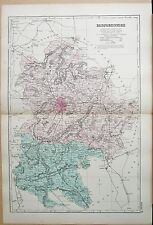 1891 LARGE VICTORIAN COUNTY MAP - BEDFORDSHIRE BIGGLESWADE AMPTHILL HARROLD