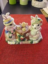 Fitz & Floyd Hat Party Rabbit Butter Dish 1991 Bunnies 2 pieces Ff Fritz F&F