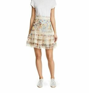 Zimmermann Lovelorn Cotton Printed Crochet Trim Skirt - Size 3 (Fit Size 10-12)