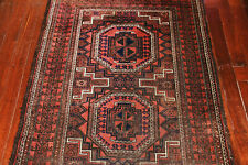 ANTIQUE HAND KNOTTED BALOUCH WOOL PILE RUG CIRCA 1920