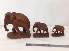 Hand Carved Set of 3 Wood Elephants