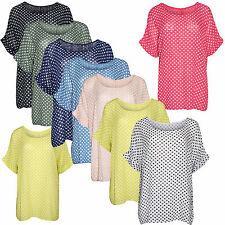 Women Italian Lagenlook Loose Fit Batwing Spotty Turn Up Sleeve Kimono Top Shirt