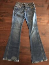 Womens Rave R4R Stretch Distressed Jeans Size 3 Riveted waist Medium Wash 24x32
