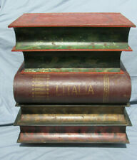 Vintage Italian Tole Stacked Books Accent End Table (B)