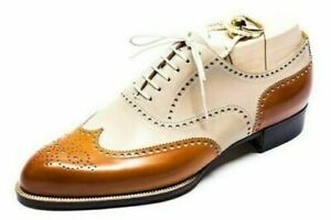 New Handmade Men's White and Tan Shoes, Spectator Shoes For Men Dress Shoes