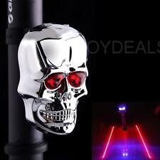 2 LED 2 Laser Bicycle Bike Rear Tail Light Skull Flashing Safety Warning Lamp