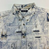 Puritan Button Up Shirt Mens XXL Sailboat Graphic Ship Short Sleeve Casual