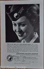 1960 NORTHERN PACIFIC Railway advertisement, Stewardess-Nurse, head-shot, NP RR
