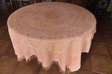 ancien tissu textile dessus de lit rose saumon Réf 200 /01