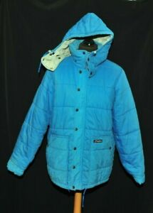 vintage Berghaus Baby Blue Puffer Jacket with Detachable Hood Large 1980's