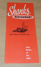 "Vintage MENU~""SHANKS Restaurant""~Lake Delton at the Dells~ Wisconsin~"