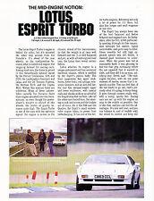 1987 Lotus Esprit Turbo Original Car Review Print Article J343