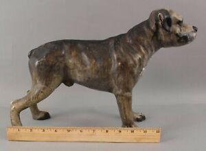 RARE Large Cast Iron Staffordshire Pitbull Terrier Mastiff Dog Doorstop, NR