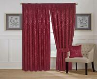 Las Vegas Burgundy Fully Lined Pencil Pleat Jacquard Ready Made Heavy Curtain