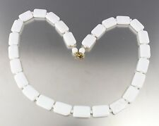 VINTAGE 60'S WHITE SQUARE BEAD BIB COLLAR NECKLACE
