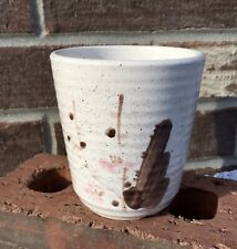 "Vintage MCM Japanese Pottery Cream Speckled Stoneware Planter Handpainted 4"""