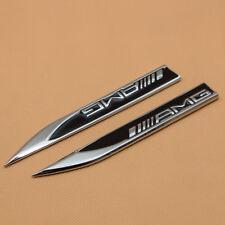 2x Glossy Black Metal AMG Side Wing Fender Badge Emblem For C E A S SL SLK CLASS