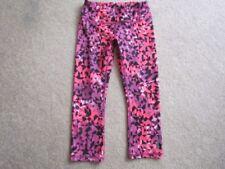 Reebok Women's pink purp black wht abstract pants capris XS yoga running cycling