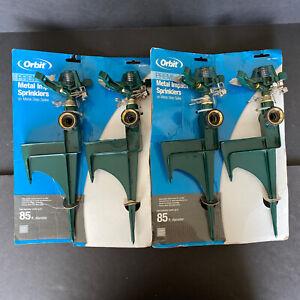 Orbit 4 Pack Metal Impact Water Sprinklers On Metal Step Spike Brand New 85ft