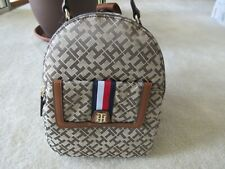 Tommy Hilfiger Signature Backpack With Brown Faux Leather Trim And Stripe NWT