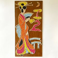 Vintage Mid Century Gravel Art Beautiful Geisha Woman Wall Hanging