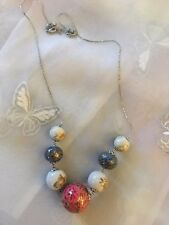 "Vintage Ceramic Beaded Necklace With Flower Beads. Chain 24"" Adjustable"