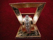 """Broche """"Boucle de Ceinture"""" cristal Blanc Asymétrique - Bijoux Vintage Sphinx"""