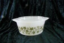 VINTAGE PYREX GREEN CRAZY DAISY SPRING BLOSSOM COVERED CASSEROLE 474-B LID 1 1/2