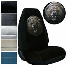 Velour Seat Covers Car Truck SUV Grizzly Bear High Back pp #Z