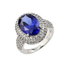 BGR00778/ 925 STERLING SILVER LADIES RING W/ OVAL SHAPE TANZANITE & DIAMOND