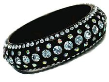 Bangle Bracelet Five Row Black Lucite Sparkling Clear and AB Crystals