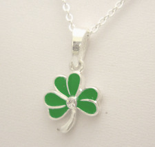 """Pendant Shamrock silver plated 20"""" chain Necklace Irish product Green  AM1055"""