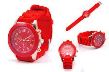 Ladies Fashion Rose Gold Quartz Red Faced Red Silicone Band Wrist Watch.(Aussie)