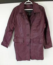 Centigrade Leather Jacket Womens Sz Med Purple Quilted Lining Short Trench