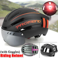 Ultra-light Bicycle Cycling Helmet w/ Magnetic Goggles Visor with Warning Light