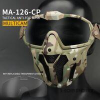 Hunting Tactical Antifog Full Face Mask Fan Goggles Lens & Half Face Mask Set