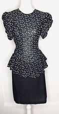 Vintage 1980s Nicki's Girl 1980s Shirt Peplum Dress Skirt Women's Medium 6/8