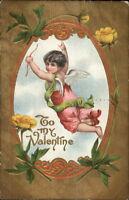 Valentine - Cherub Gold & Yellow Flower Border c1910 Postcard