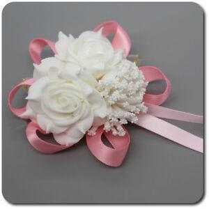Bracciale Fiore Rosa Fiocco Fasce Damigella Sposa Matrimonio Avorio