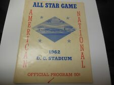 1962 MLB BASEBALL ALL STAR GAME PROGRAM VINTAGE CONDITION WASHINGTON DC SENATORS