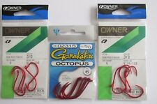 16 Red Hooks  - 10 Owner All Purpose Bait SSW 3/0 & 6 Gamakatsu Octopus 5/0
