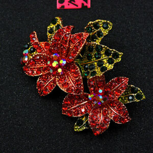 New Betsey Johnson Red Rhinestone Flower Crystal Charm Brooch Pin Gift